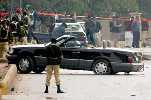 President Musharraf&#8217;s car damaged in one of the  assassination attempts.